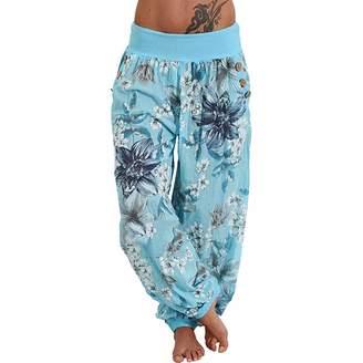 a4bd8afe10 SWPS Women's Fleece Lined Leggings, Women Casual Print Pants Wide Leg Pants  Loose Pocket Button