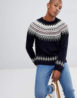 Asos Fairisle Wool Mix Sweater In Navy