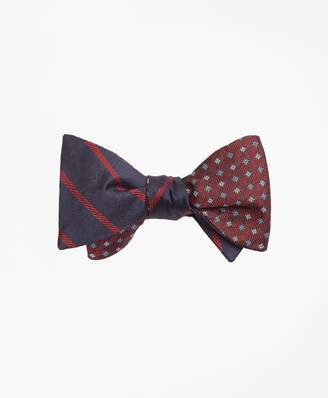 Brooks Brothers Twill Stripe with Parquet Reversible Bow Tie