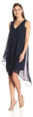 London Times Women's Sleeveless Midi Chiffon Shift Dress w. Asymetrical Hem