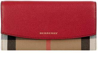 Burberry Porter House Check and Leather Continental Wallet