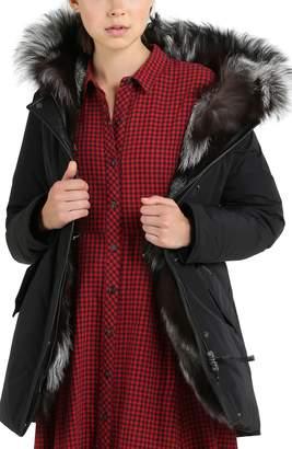 Woolrich Somerset Reversible Hooded Down & Genuine Fox Fur Parka