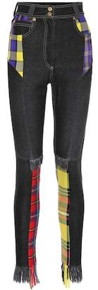 Versace Plaid patchwork skinny jeans