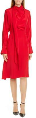 Jason Wu Long Sleeve Tie Neck Double Georgette Dress