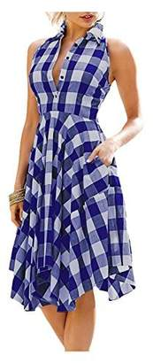 Kumer Women Sleeveless Side Pockets Plaid Pleated Irregular Hem Casual Shirt Dress