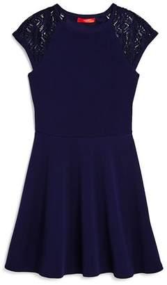 Aqua Girls' Textured Lace-Sleeve Dress, Big Kid - 100% Exclusive