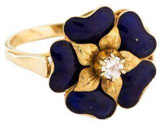 Ring 18K Diamond & Enamel Flower