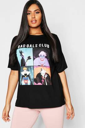 boohoo Plus Disney 'Bad Gals Club' T Shirt