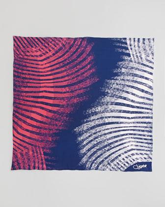 Diane von Furstenberg Braden Zebra-Print Square Scarf, Navy/Pink