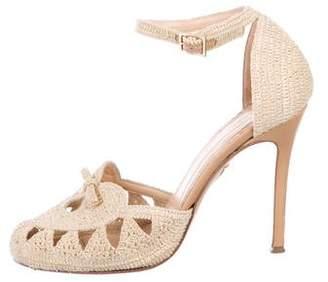 Charlotte Olympia Woven Ankle Strap Pumps
