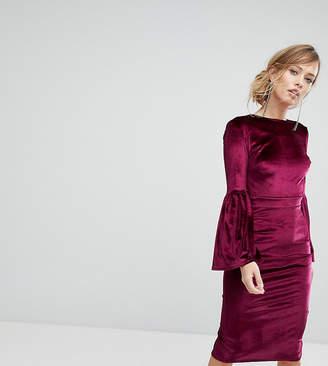 True Violet Velvet Fluted Sleeve Midi Dress With Open Back