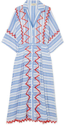 Temperley London Trelliage Embroidered Striped Voile Maxi Dress - Azure