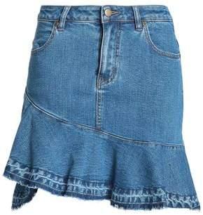 Nicholas Asymmetric Ruffle-Trimmed Denim Mini Skirt