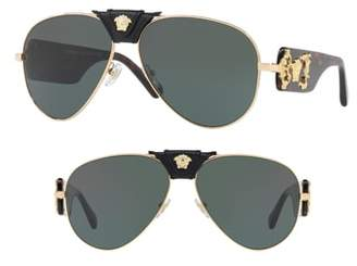 Versace Medusa 62mm Aviator Sunglasses