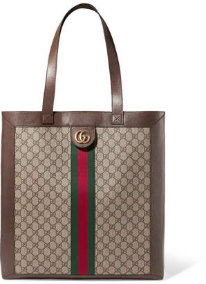 Gucci Ophidia Gg Leather-trimmed Printed Coated-canvas Tote - Brown