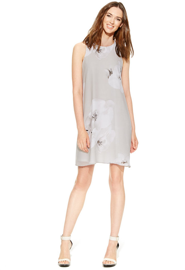 Calvin KleinCalvin Klein Floral-Print Chiffon Shift Dress