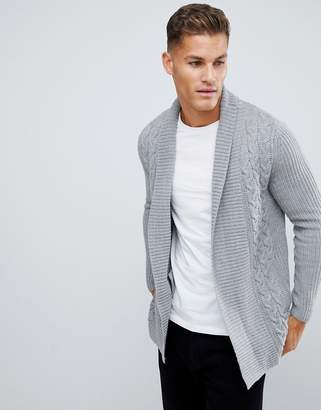 1c034a58a8c Burton Menswear shawl cardigan in light grey