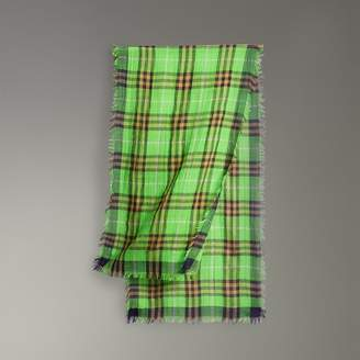 Burberry Childrens Lightweight Check Wool Silk Scarf