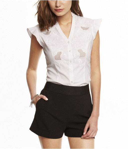 Express Flutter Sleeve Embroidered Essential Shirt