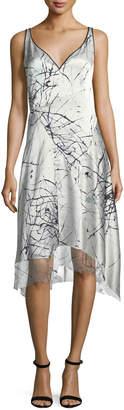 Elie Tahari Seldana Silk V-Neck Dress