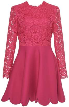 Valentino Pink Lace Mini Flare Dress