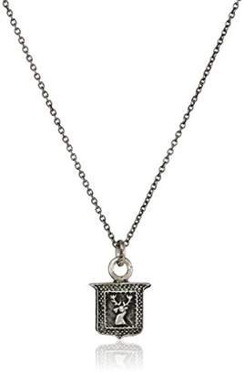 Pyrrha Unisex Stag's Head Shield Sterling Petite Talisman Pendant Necklace