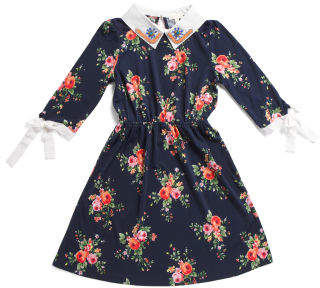 Big Girls Floral Tie Sleeve Dress