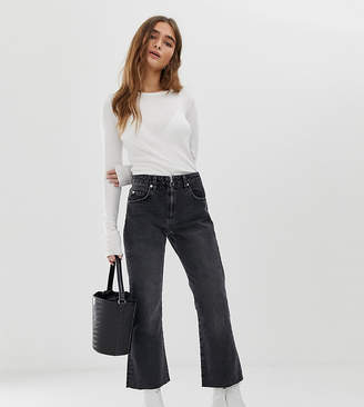 Asos DESIGN Petite Egerton rigid cropped flare jeans in washed black with zip fly detail