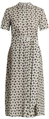 Lisa Marie Fernandez - Floral Embroidered Short Sleeved Cotton Dress - Womens - White Black
