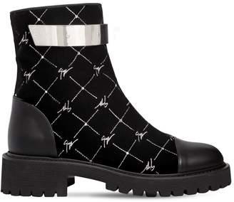 Giuseppe Zanotti Design 40mm Logo Embroidered Velvet Ankle Boots