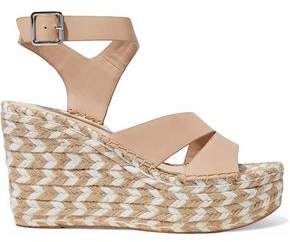 Sigerson Morrison Arien Leather Espadrille Wedge Sandals