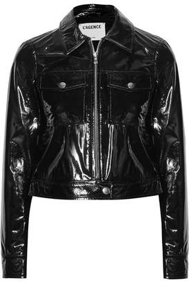 L'Agence Lex Cropped Textured Patent-leather Jacket - Black