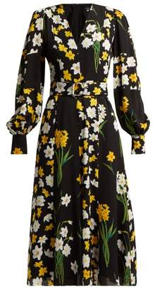 Andrew Gn Daffodil Print Silk Midi Dress - Womens - Black Print