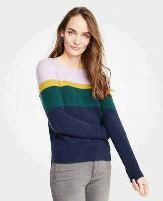 Ann Taylor Colorblock Crew Neck Pullover
