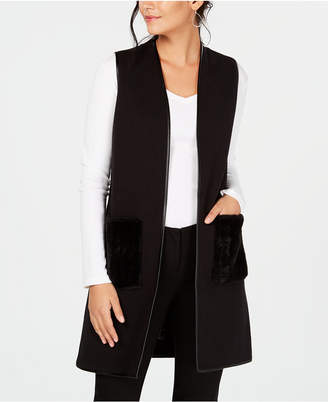 JM Collection Faux-Fur-Pocket Vest