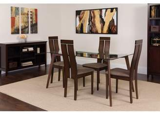 Flash Furniture Ridgecrest 5 Piece Espresso Wood Dining Table Set with Glass Top and Clean Line Wood Dining Chairs - Padded Seats