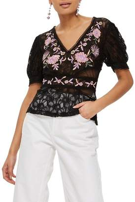 Topshop Embroidered Sheer Lace Top