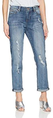 Nine West Women's Astor Blinged Out Slim Boyfriend Jean