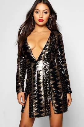 boohoo Petite Sequin Aztec Split Detail Bodycon Dress