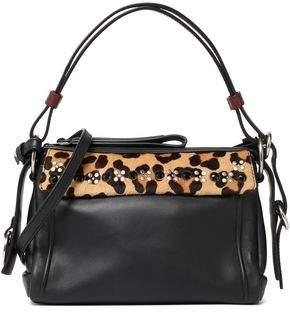 Marc by Marc Jacobs Embellished Leopard-Print Calf Hair-Paneled Leather Shoulder Bag