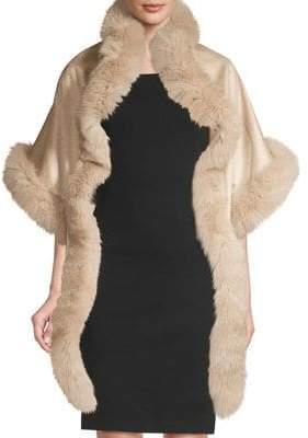 Sofia Cashmere Women's Asymmetric Cashmere& Fox Fur-Trimmed Wrap - Stone