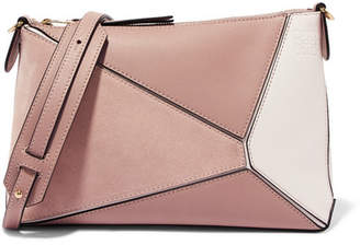 Loewe Puzzle Mini Textured-leather And Suede Shoulder Bag - Blush