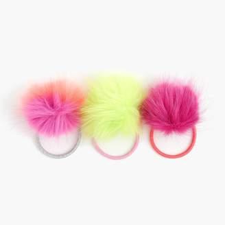 J.Crew Girls' pom-pom ponytail holders three-pack