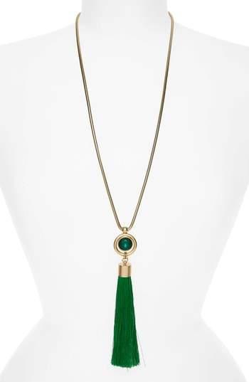 Scarlet Tassel Pendant Necklace