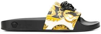 Versace Signature print Medusa slides