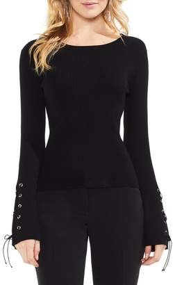 Vince Camuto Lace-Up Bell Sleeve Ribbed Sweater (Regular & Petite)