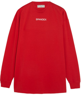 Balenciaga - Oversized Printed Stretch-cotton Jersey Sweatshirt - Red $355 thestylecure.com