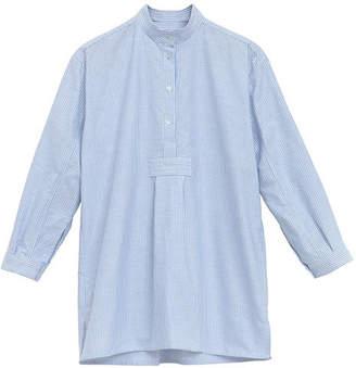 The Sleep Shirt Short Nightshirt in Blue Oxford Stripe