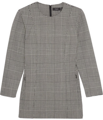 Theory - Laurent Prince Of Wales Checked Stretch-wool Top - Gray $345 thestylecure.com