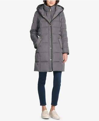 DKNY Faux-Leather-Trim Hooded Puffer Coat
